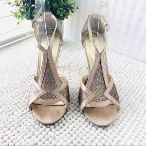 Adrianna Papell peep toe heels gold satin size 8 M
